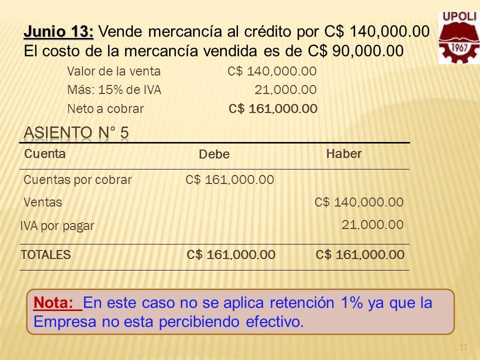 Junio 13: Vende mercancía al crédito por C$ 140,000.00
