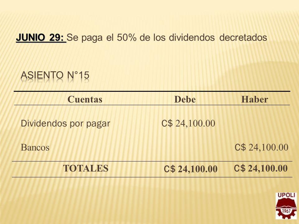 Junio 29: Se paga el 50% de los dividendos decretados