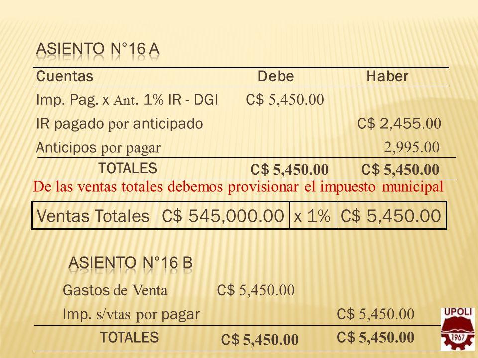 Ventas Totales C$ 545,000.00 x 1% C$ 5,450.00 Asiento N°16 A Cuentas
