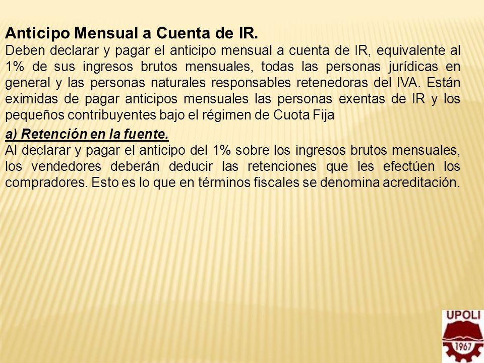Anticipo Mensual a Cuenta de IR.