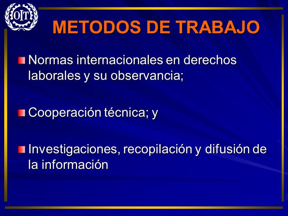 METODOS DE TRABAJO Normas internacionales en derechos laborales y su observancia; Cooperación técnica; y.