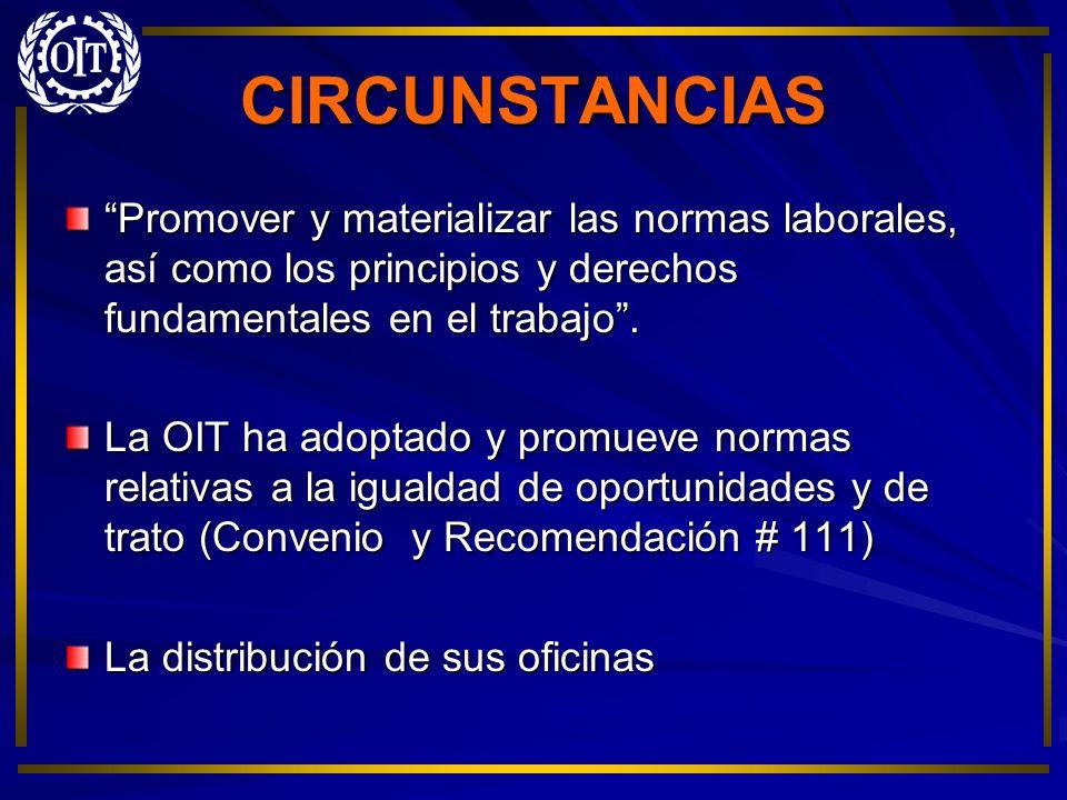 CIRCUNSTANCIAS Promover y materializar las normas laborales, así como los principios y derechos fundamentales en el trabajo .
