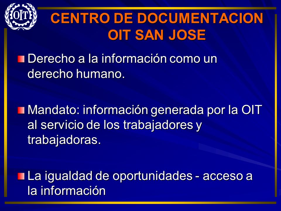 CENTRO DE DOCUMENTACION OIT SAN JOSE