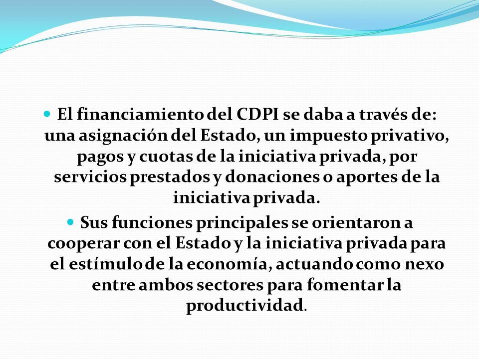 El financiamiento del CDPI se daba a través de: una asignación del Estado, un impuesto privativo, pagos y cuotas de la iniciativa privada, por servicios prestados y donaciones o aportes de la iniciativa privada.