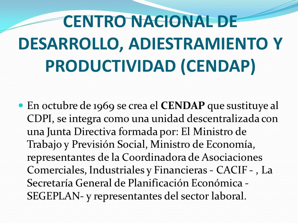 CENTRO NACIONAL DE DESARROLLO, ADIESTRAMIENTO Y PRODUCTIVIDAD (CENDAP)