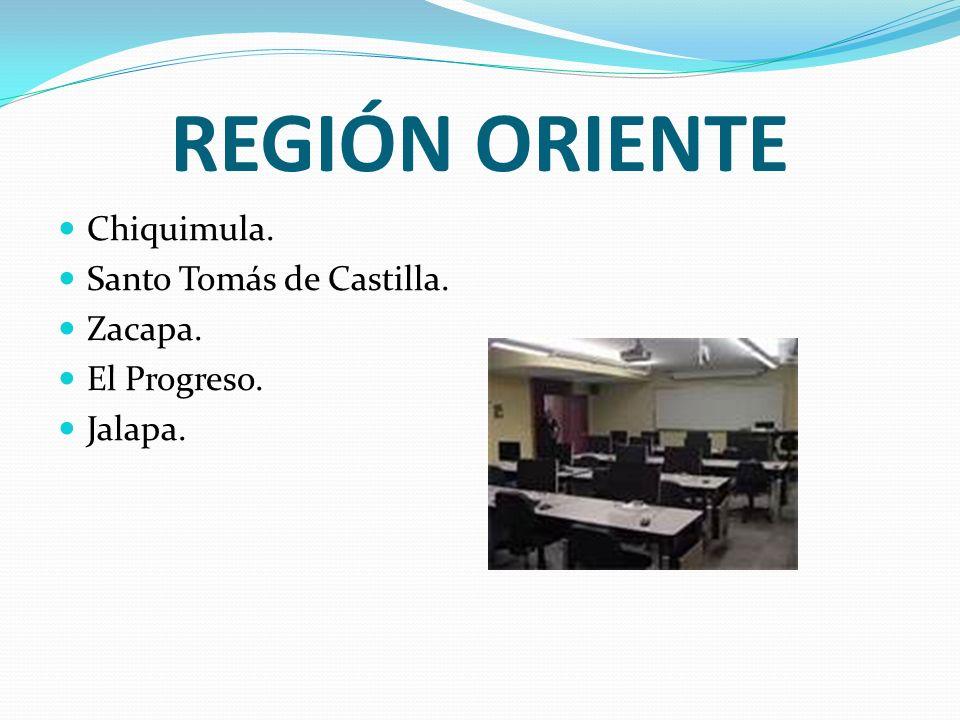REGIÓN ORIENTE Chiquimula. Santo Tomás de Castilla. Zacapa.