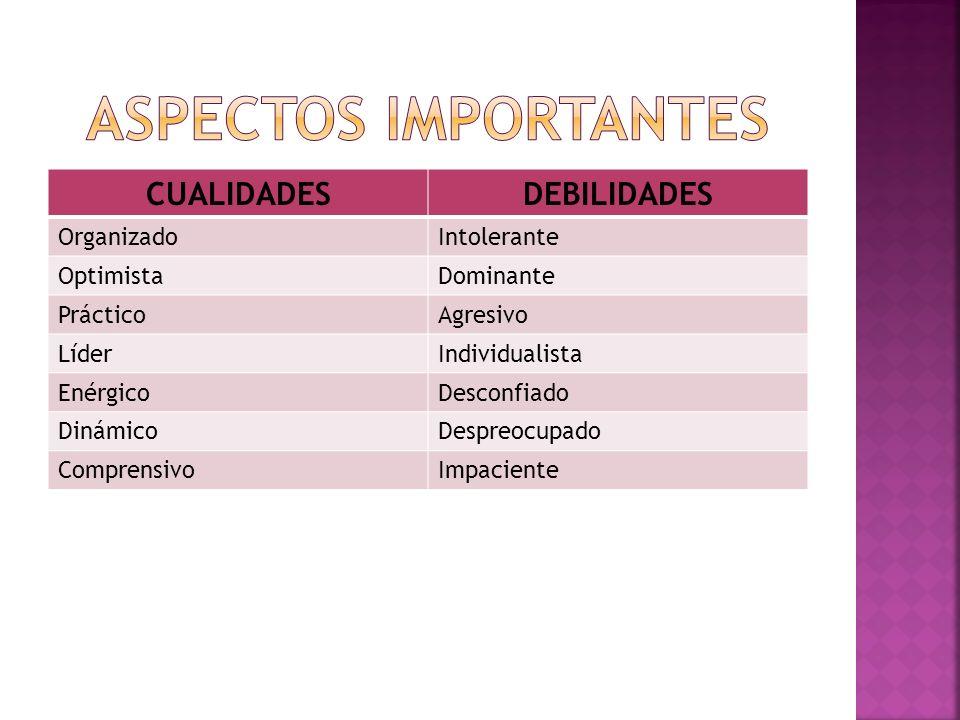 ASPECTOS IMPORTANTES CUALIDADES DEBILIDADES Organizado Intolerante