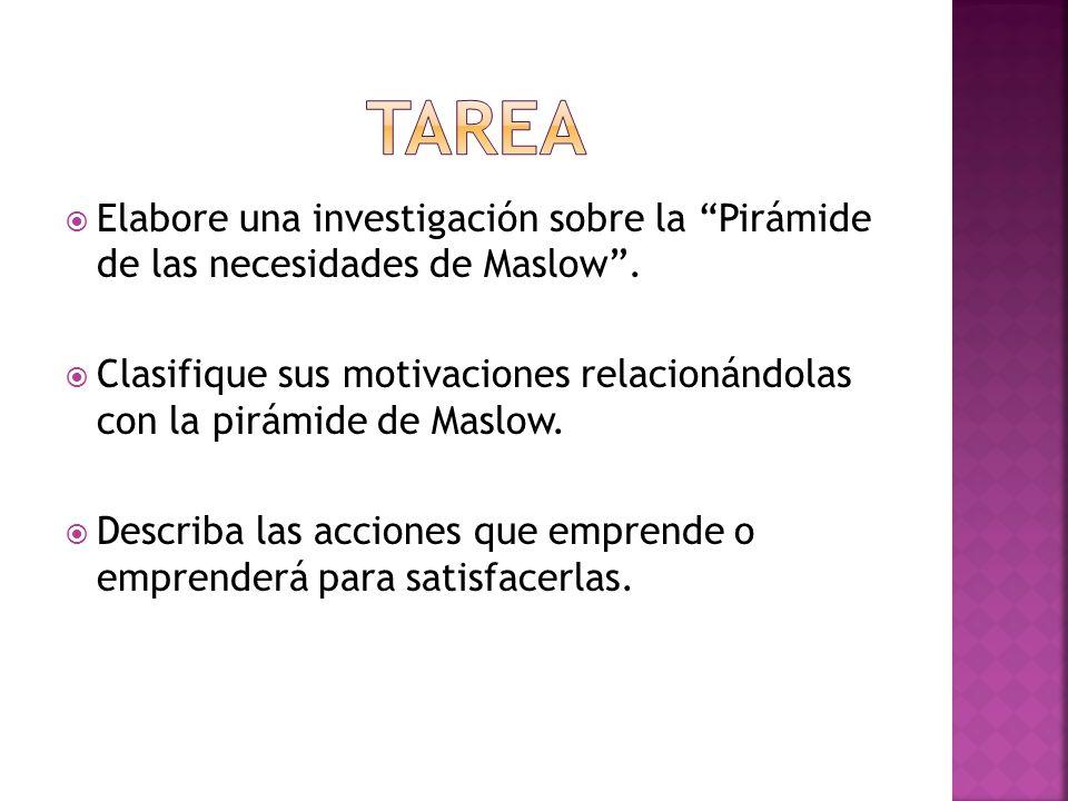 TAREA Elabore una investigación sobre la Pirámide de las necesidades de Maslow .