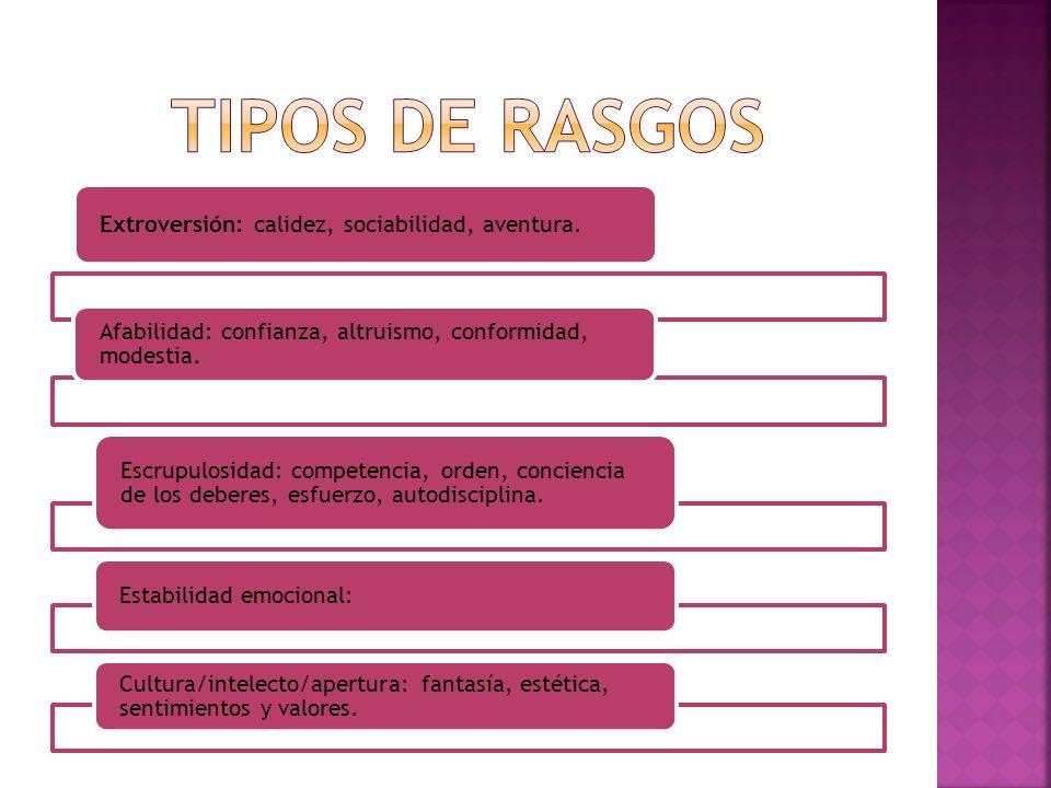 TIPOS DE RASGOS Extroversión: calidez, sociabilidad, aventura.
