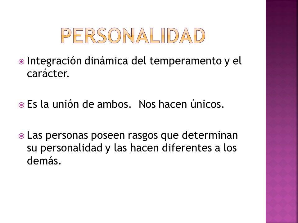 PERSONALIDAD Integración dinámica del temperamento y el carácter.