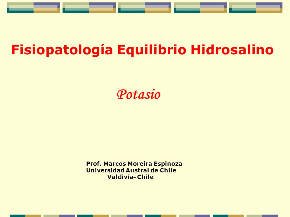 Potasio Fisiopatología Equilibrio Hidrosalino