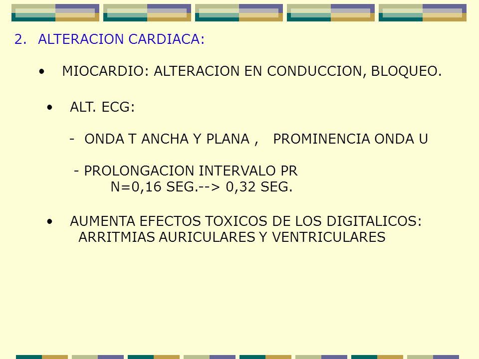 ALTERACION CARDIACA: MIOCARDIO: ALTERACION EN CONDUCCION, BLOQUEO. ALT. ECG: - ONDA T ANCHA Y PLANA , PROMINENCIA ONDA U.