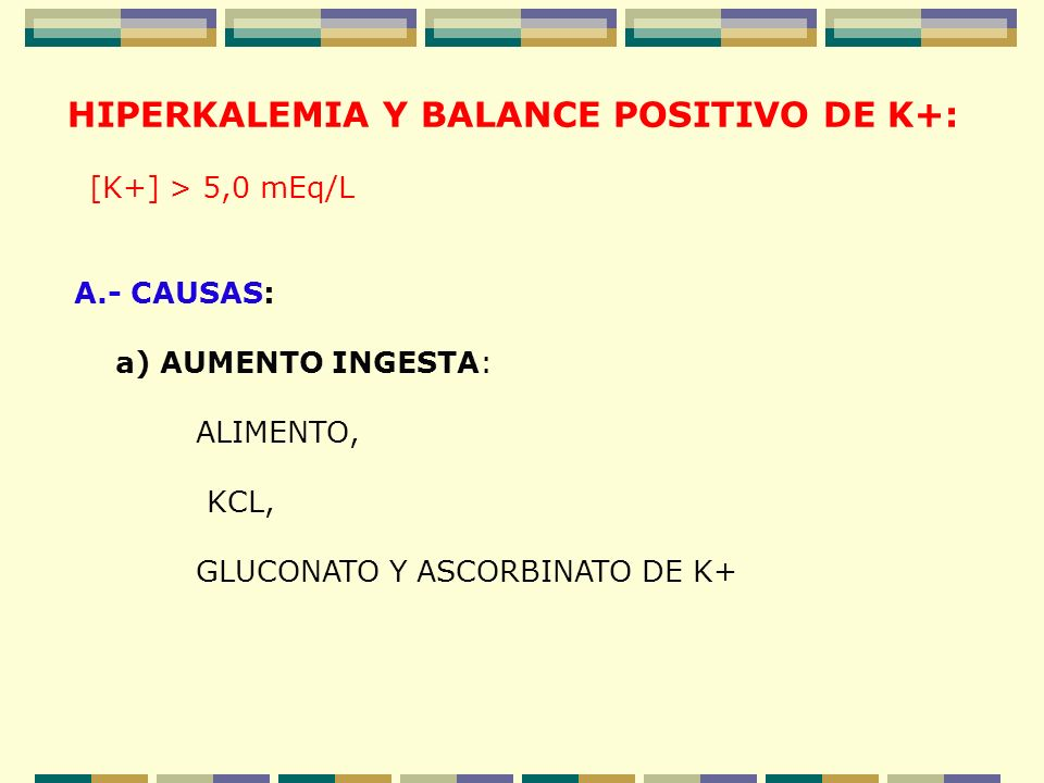 HIPERKALEMIA Y BALANCE POSITIVO DE K+: