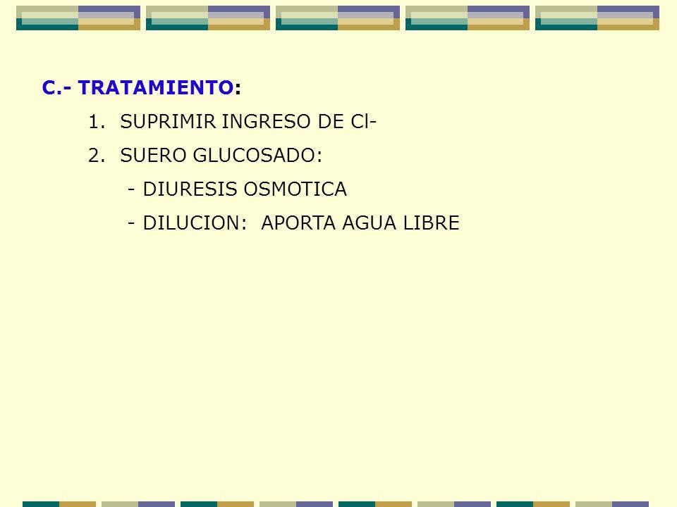 C.- TRATAMIENTO: 1. SUPRIMIR INGRESO DE Cl- 2. SUERO GLUCOSADO: - DIURESIS OSMOTICA.