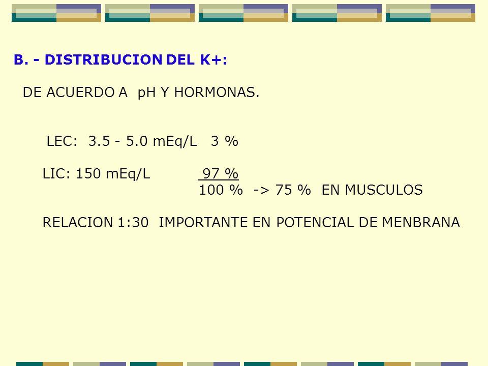 B. - DISTRIBUCION DEL K+: