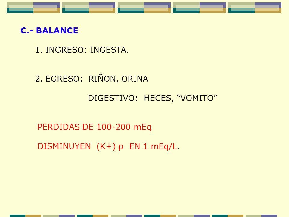 C.- BALANCE 1. INGRESO: INGESTA. 2. EGRESO: RIÑON, ORINA. DIGESTIVO: HECES, VOMITO PERDIDAS DE 100-200 mEq.