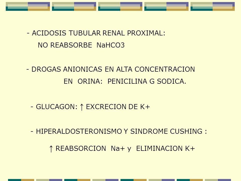 - ACIDOSIS TUBULAR RENAL PROXIMAL: