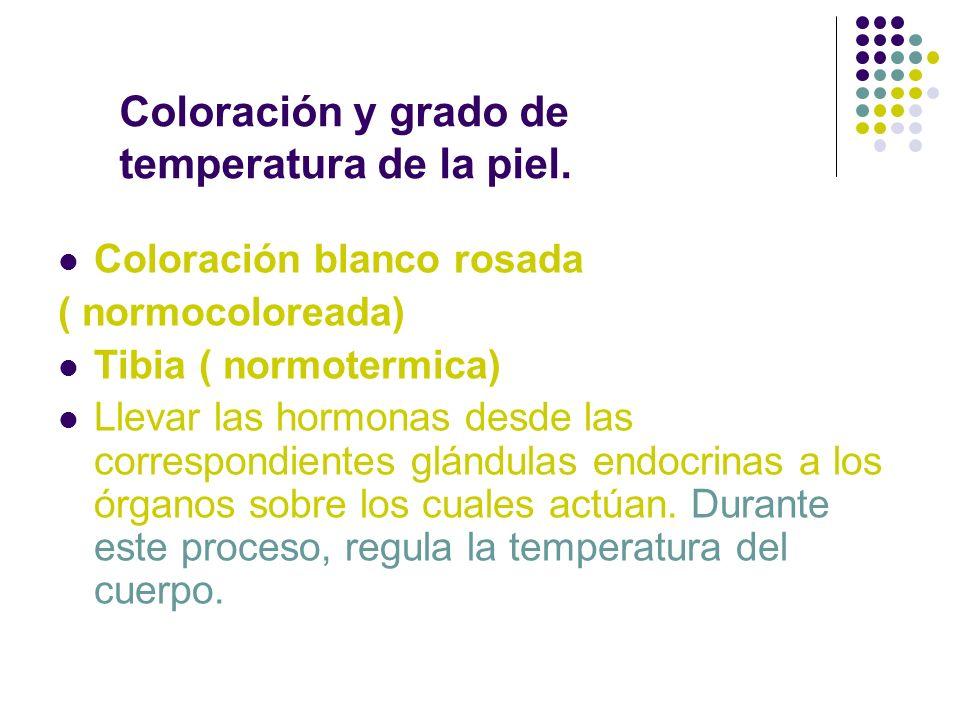 Coloración y grado de temperatura de la piel.