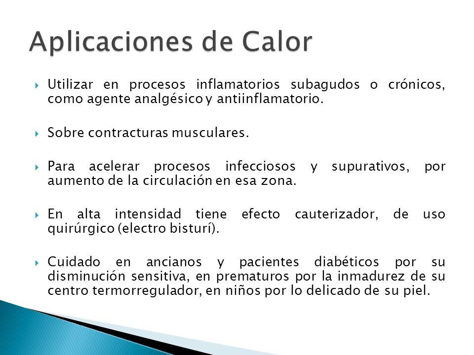 Aplicaciones de CalorUtilizar en procesos inflamatorios subagudos o crónicos, como agente analgésico y antiinflamatorio.