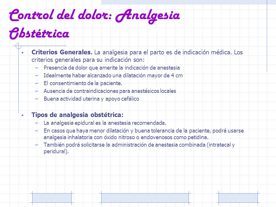 Control del dolor: Analgesia Obstétrica