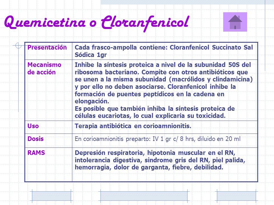 Quemicetina o Cloranfenicol