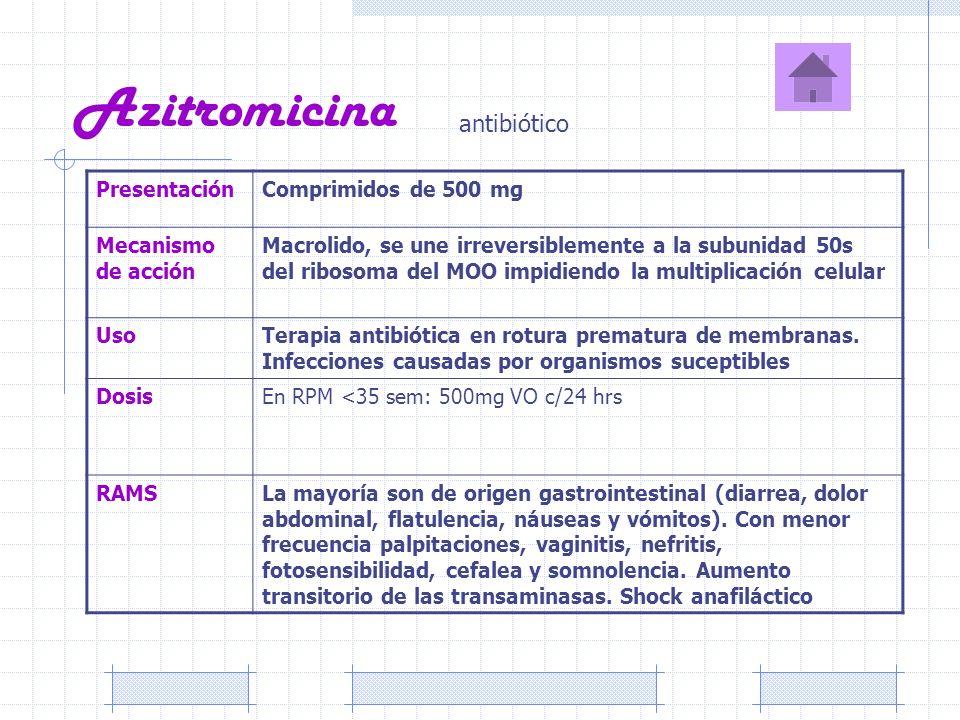 Azitromicina antibiótico Presentación Comprimidos de 500 mg