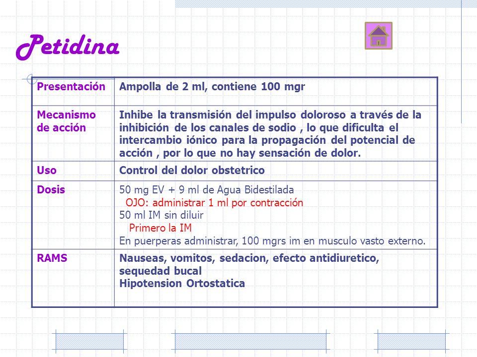 Petidina Presentación Ampolla de 2 ml, contiene 100 mgr