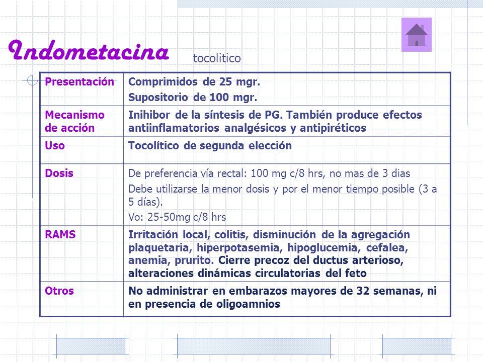 Indometacina tocolitico Presentación Comprimidos de 25 mgr.