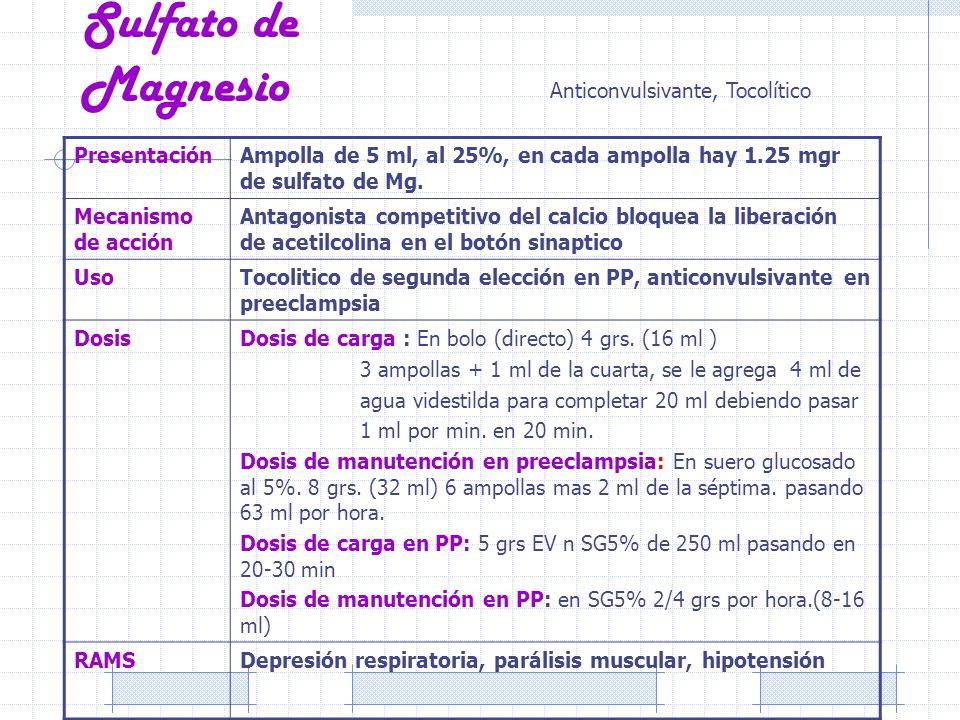 Sulfato de Magnesio Anticonvulsivante, Tocolítico Presentación
