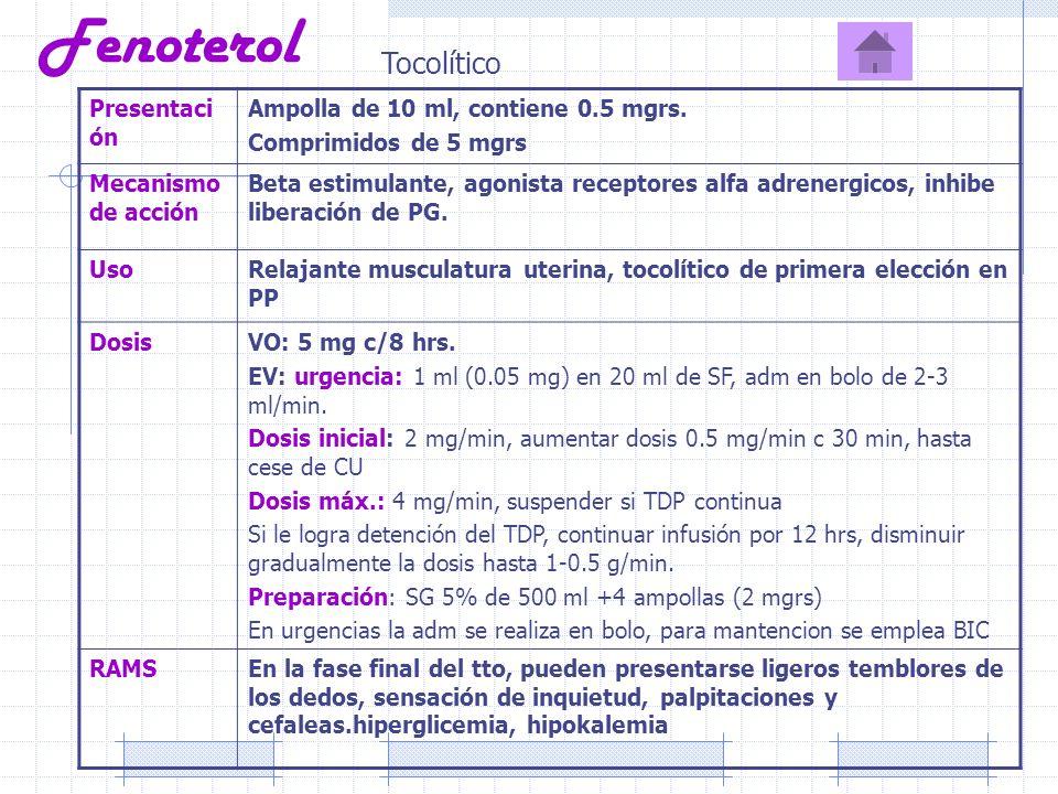 Fenoterol Tocolítico Presentación Ampolla de 10 ml, contiene 0.5 mgrs.