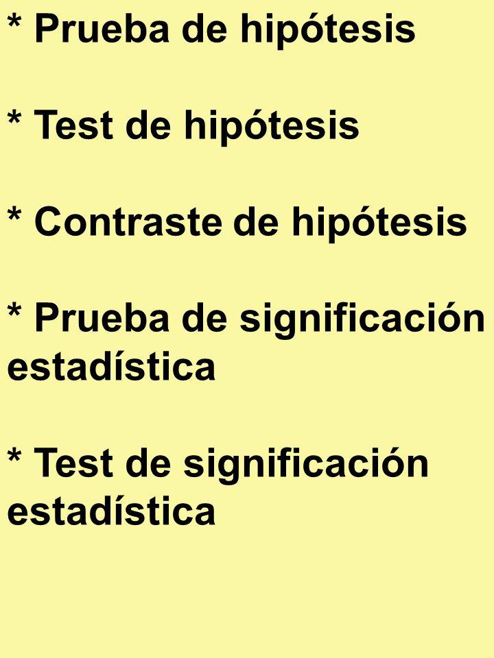 * Prueba de hipótesis * Test de hipótesis. * Contraste de hipótesis. * Prueba de significación estadística.
