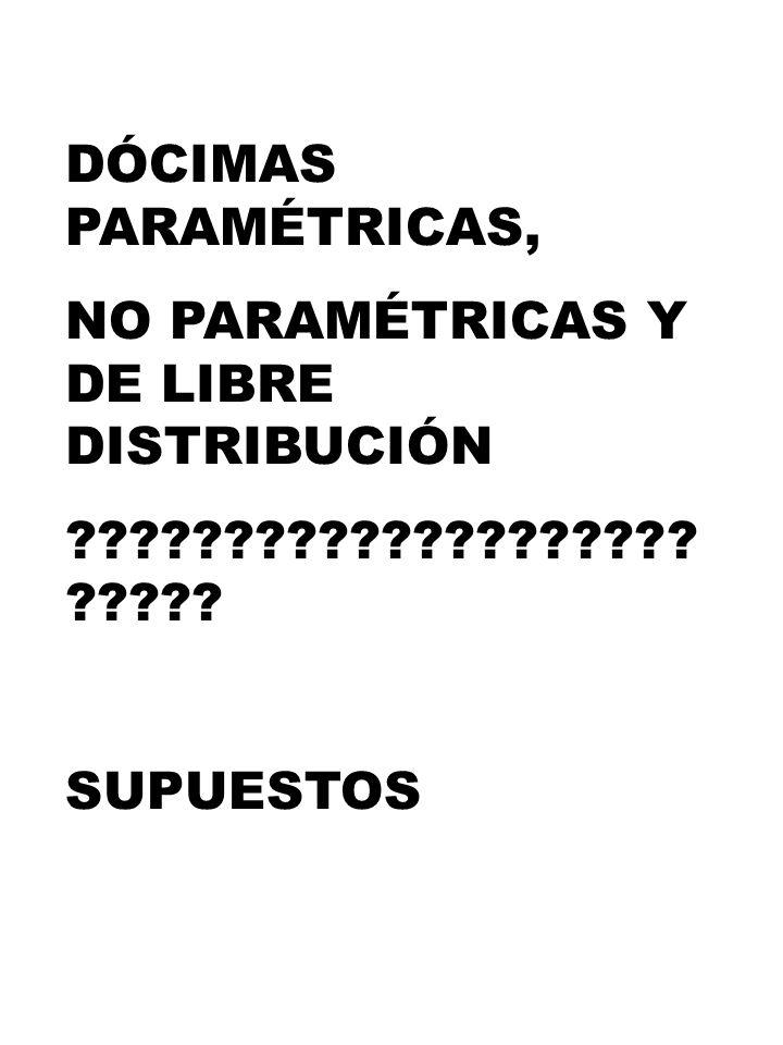 DÓCIMAS PARAMÉTRICAS, NO PARAMÉTRICAS Y DE LIBRE DISTRIBUCIÓN SUPUESTOS