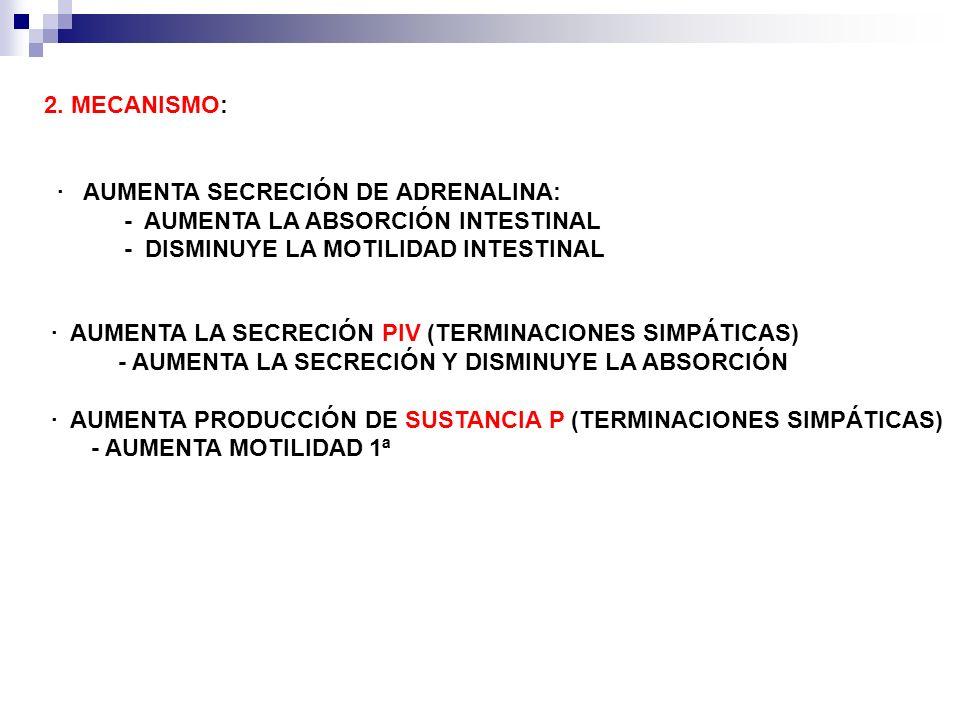 2. MECANISMO: · AUMENTA SECRECIÓN DE ADRENALINA: - AUMENTA LA ABSORCIÓN INTESTINAL. - DISMINUYE LA MOTILIDAD INTESTINAL.