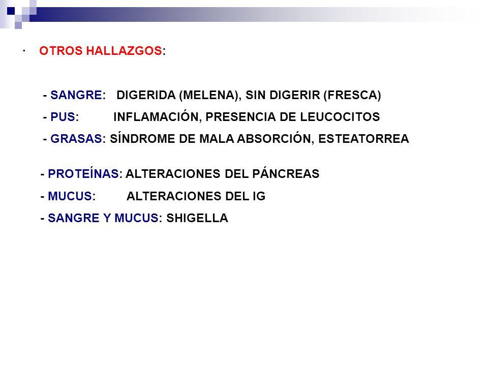 · OTROS HALLAZGOS: - SANGRE: DIGERIDA (MELENA), SIN DIGERIR (FRESCA) - PUS: INFLAMACIÓN, PRESENCIA DE LEUCOCITOS.