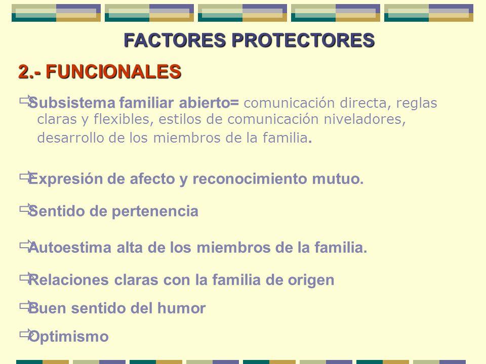FACTORES PROTECTORES 2.- FUNCIONALES