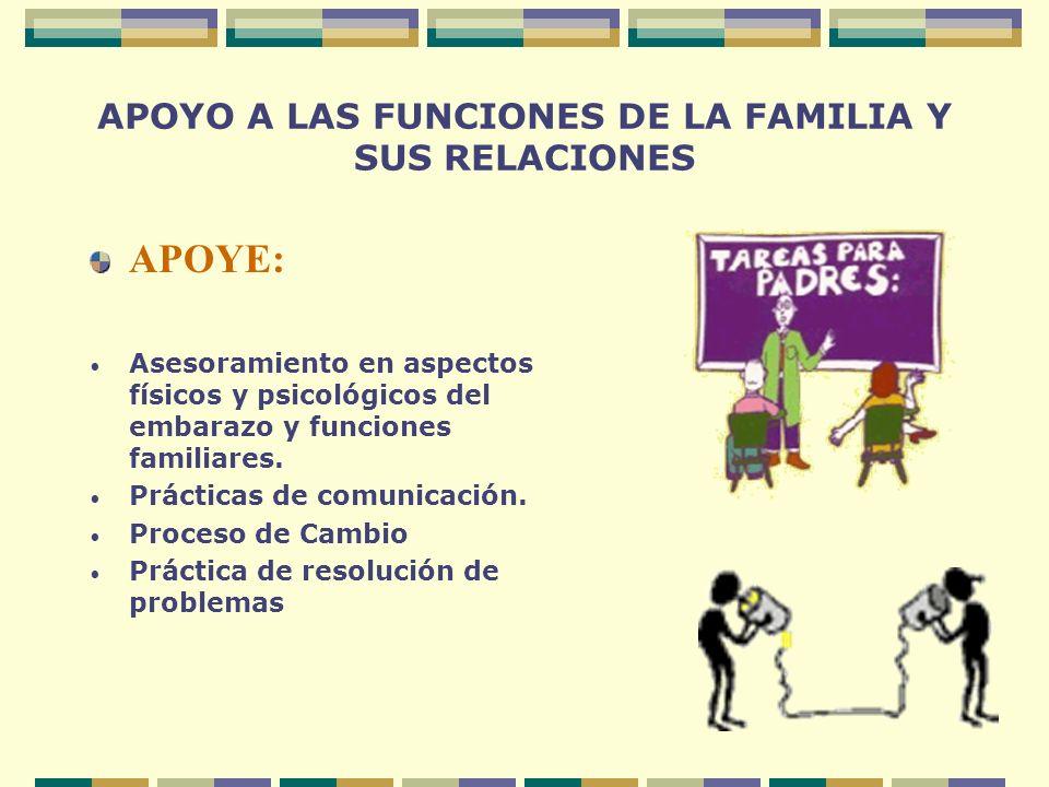 APOYO A LAS FUNCIONES DE LA FAMILIA Y SUS RELACIONES