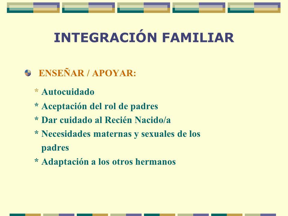 INTEGRACIÓN FAMILIAR ENSEÑAR / APOYAR: * Autocuidado