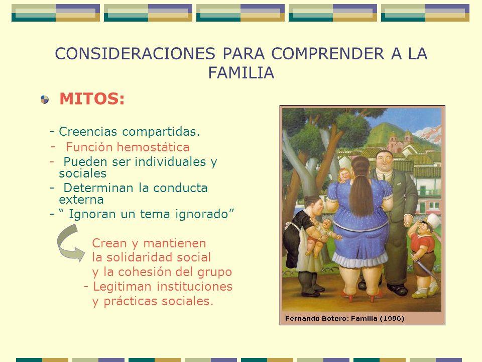 CONSIDERACIONES PARA COMPRENDER A LA FAMILIA