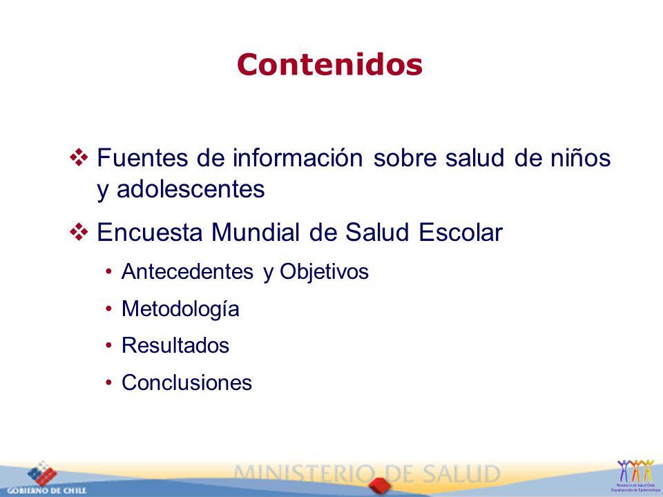 Contenidos Fuentes de información sobre salud de niños y adolescentes