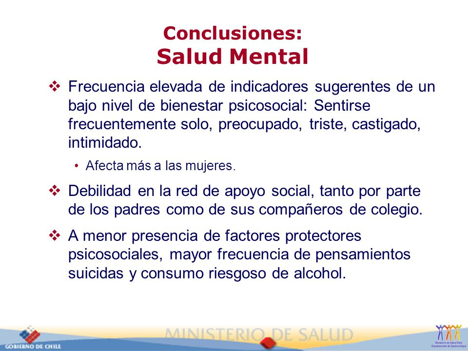 Conclusiones: Salud Mental