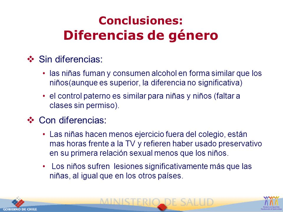 Conclusiones: Diferencias de género