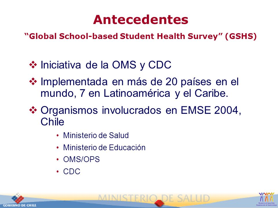 Antecedentes Global School-based Student Health Survey (GSHS)