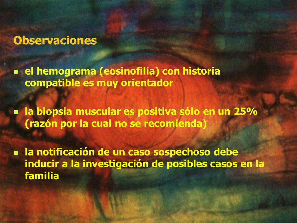 Observaciones el hemograma (eosinofilia) con historia compatible es muy orientador.