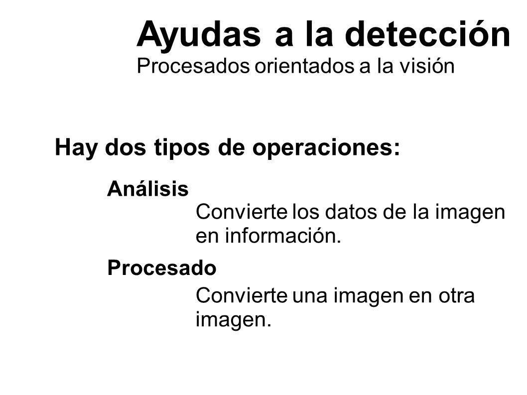 Ayudas a la detección Hay dos tipos de operaciones: