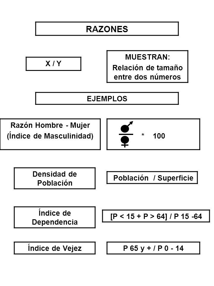 RAZONES MUESTRAN: Relación de tamaño entre dos números X / Y EJEMPLOS