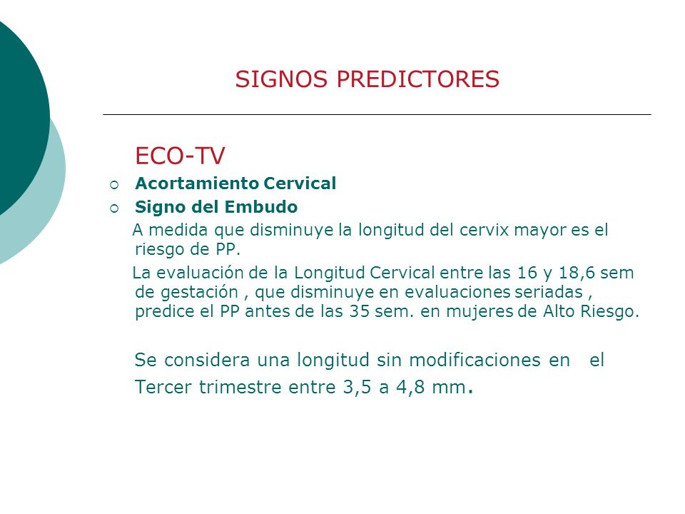 ECO-TV SIGNOS PREDICTORES