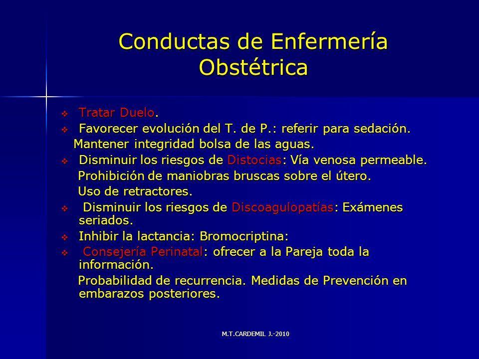 Conductas de Enfermería Obstétrica