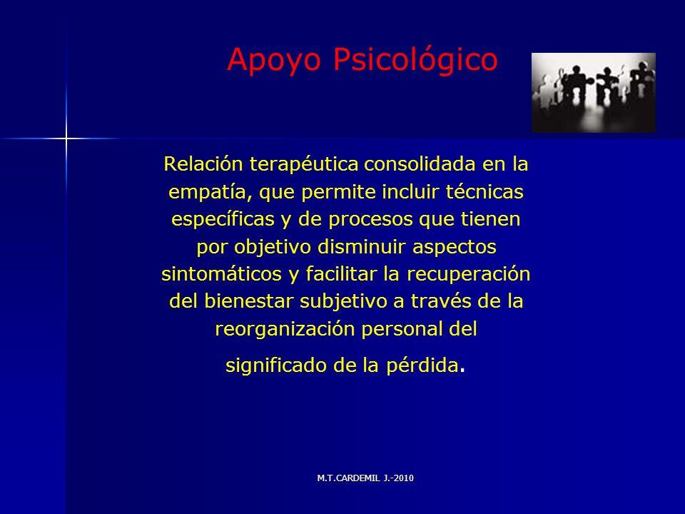 Apoyo Psicológico Relación terapéutica consolidada en la