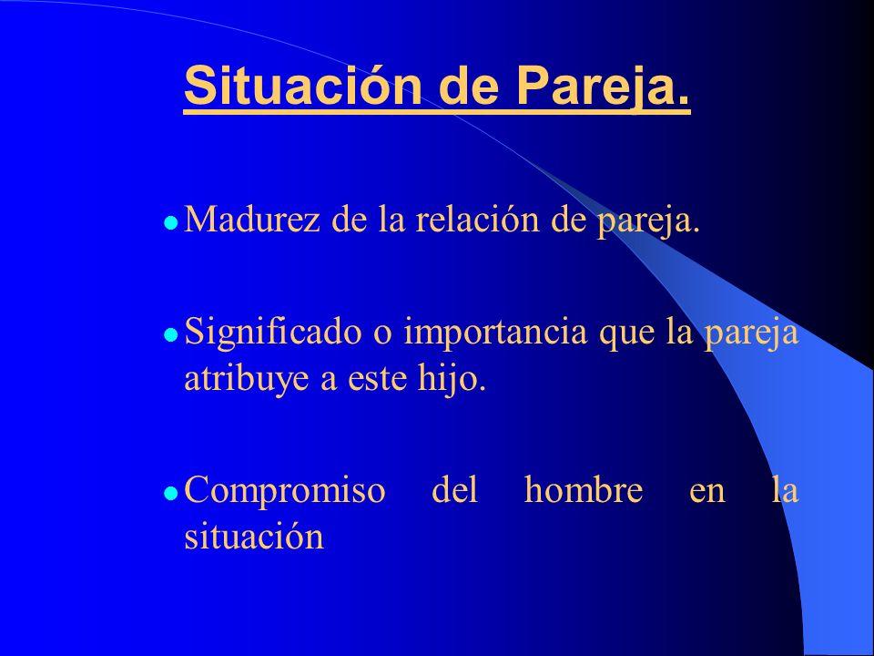 Situación de Pareja. Madurez de la relación de pareja.