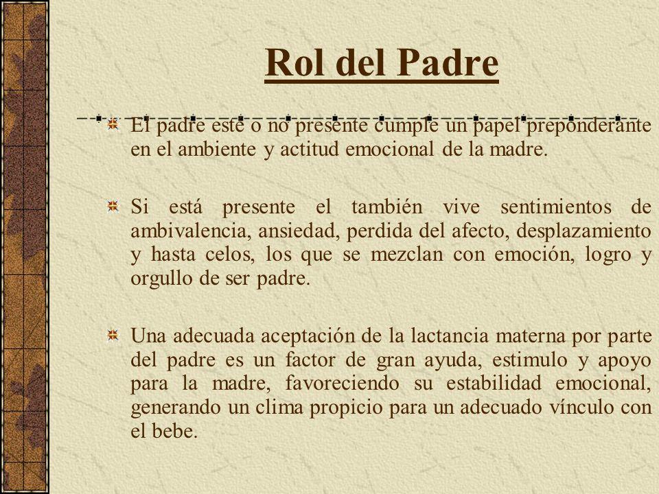 Rol del Padre El padre esté o no presente cumple un papel preponderante en el ambiente y actitud emocional de la madre.